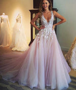 Unique v neck lace tulle long prom dress, evening dress