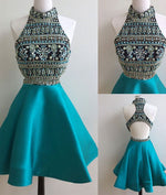 Green high neck rhinestones short prom dress, cute homecoming dress