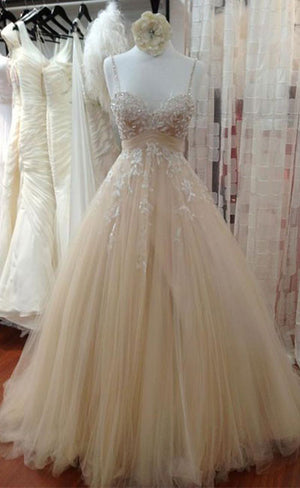 Champagne tulle lace long prom dress, lace wedding dress - shdress