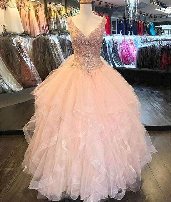 Pink v neck tulle sequin beads long prom dress, pink evening dress