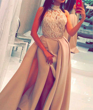 Champagne lace long prom dress, champagne evening dress - shdress