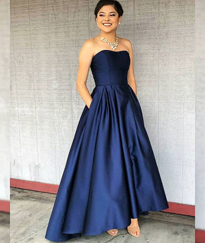Simple dark blue satin prom dress, dark blue evening dress - shdress