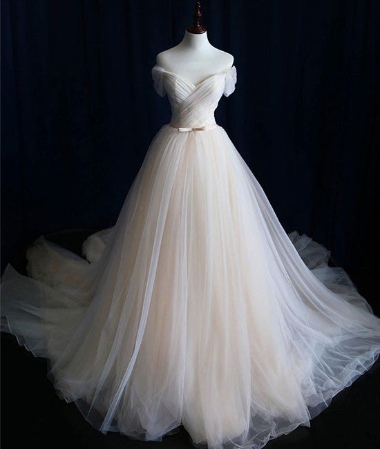 Simple light champagne tulle long prom dress, champagne tulle wedding dress - shdress