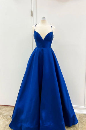 Simple v neck blue satin long prom dress blue evening dress