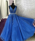 Blue lace tulle long prom dress, blue tulle lace evening dress