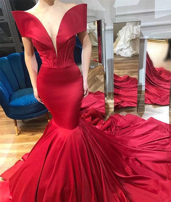 Unique red satin mermaid long prom dress, evening dress