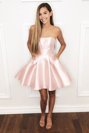 Simple satin pink short prom dress, pink homecoming dress