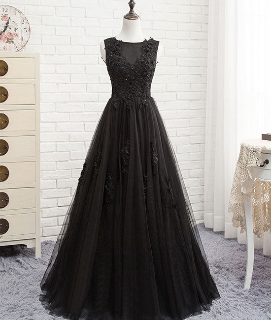 Black round neck tulle lace long prom dress, black evening dress