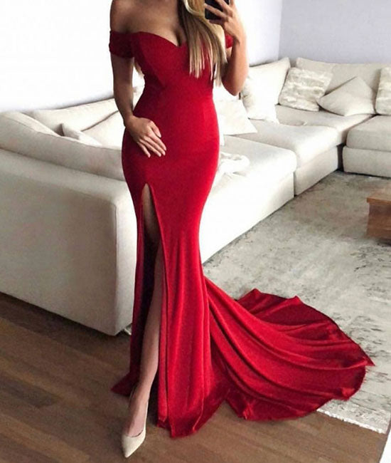Simple sweetheart neck mermaid long prom dress, red evening dress