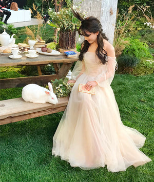 Champagne tulle long prom dress, champagne tulle evening dress - shdress