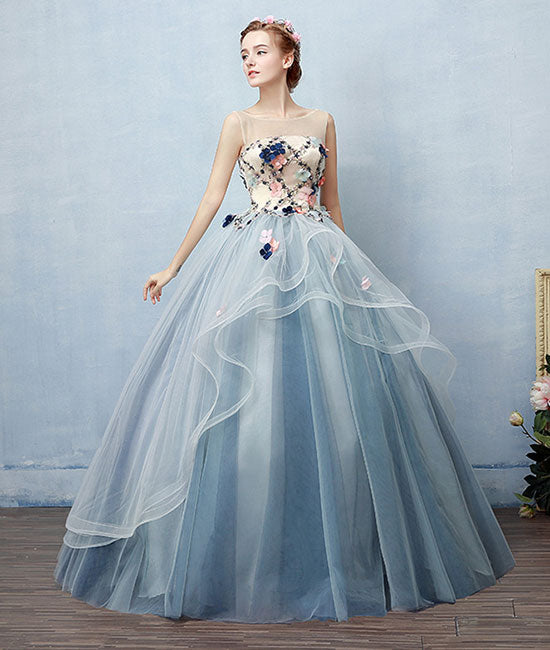 Unique round neck tulle applique long prom dress, blue evening dress