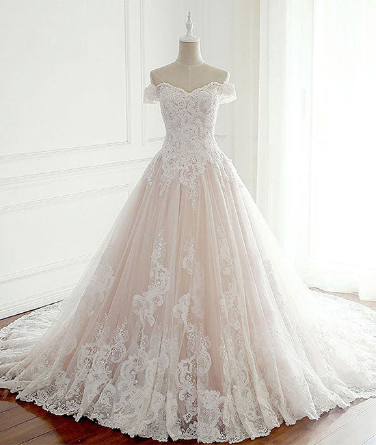 Unique lace tulle long wedding dress, lace long bridal dress - shdress