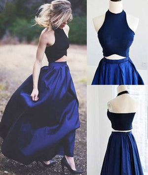 Simple dark blue two pieces long prom dress, evening dress - shdress