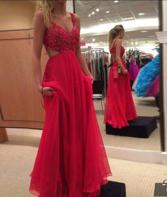 Red A-line chiffon lace long prom dress, red evening dress