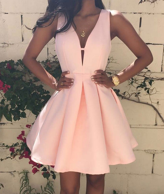 Pink v neck short prom dress, cute homecoming dress - shdress