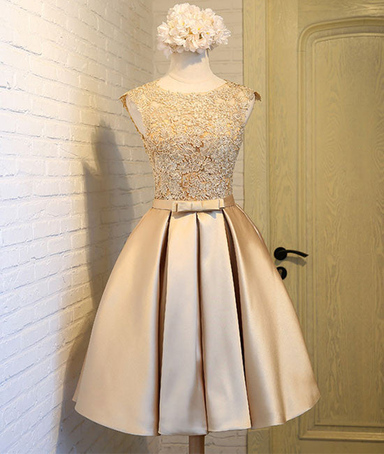 Champagne lace short prom dress, cute homecoming dress