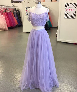 Purple tulle two pieces lace long prom dress, purple evening dress - shdress
