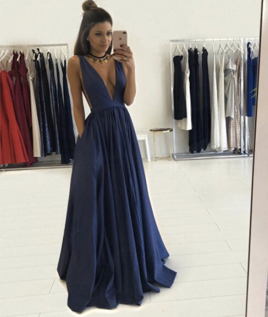 Simple v neck dark blue long prom dress, evening dress - shdress