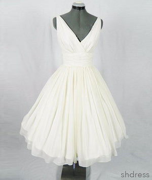 White v neck chiffon short prom dress, homecoming dress - shdress