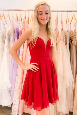 Red v neck chiffon short prom dress red chiffon homecoming dress