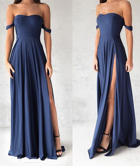 Simple chiffon blue long prom dress, evening dress - shdress
