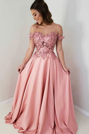Pink off shoulder lace long prom dress, lace bridesmaid dress