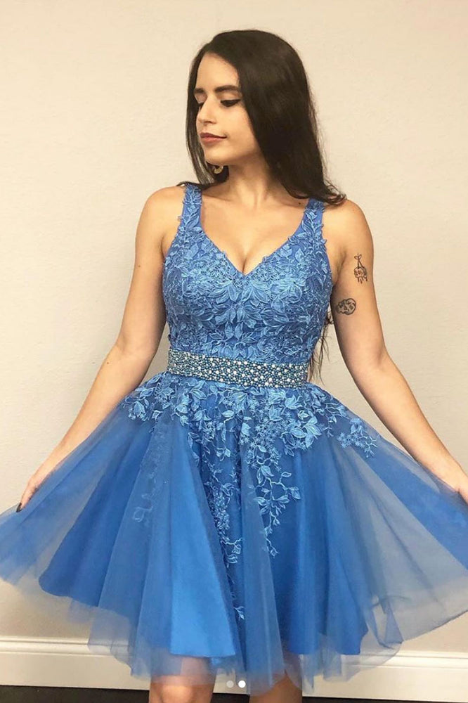 Blue v neck tulle lace short prom dress blue lace homecoming dress