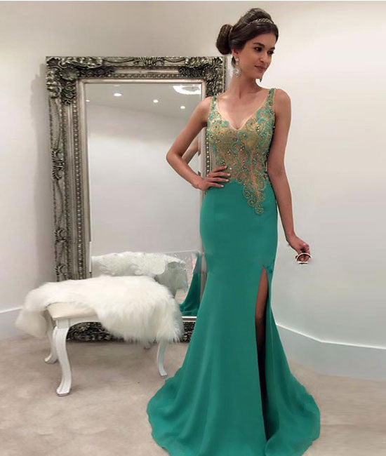 Green v neck sequin mermaid long prom dress, green evening dress - shdress
