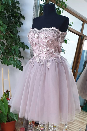 Cute sweetheart tulle lace beads short prom dress, homecoming dress