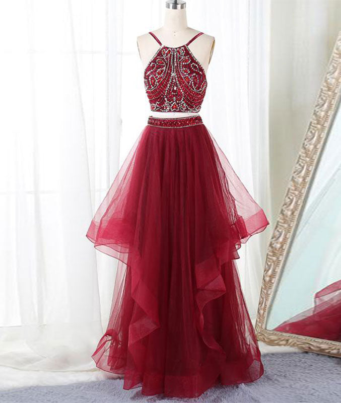 Burgundy two pieces beads long prom dress, burgundy evening dress - shdress