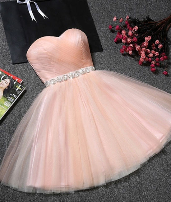 Cute pink short prom dress, pink homecoming dress - shdress