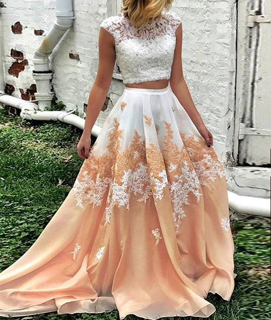 Unique two pieces long prom dress, lace long prom dress