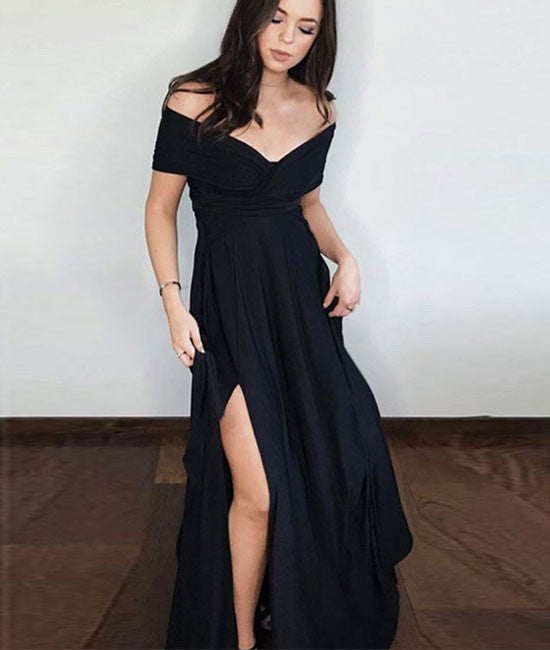 Simple black off shoulder prom dress, black long evening dress