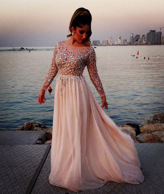 Unique round neck sequin long prom dress, evening dress - shdress