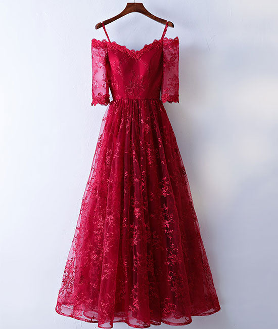 Burgundy sweetheart lace long prom dress, burgundy evening dress