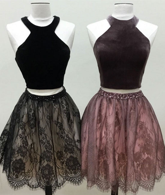 Cute two pieces lace short prom dress, cute homecoming dress