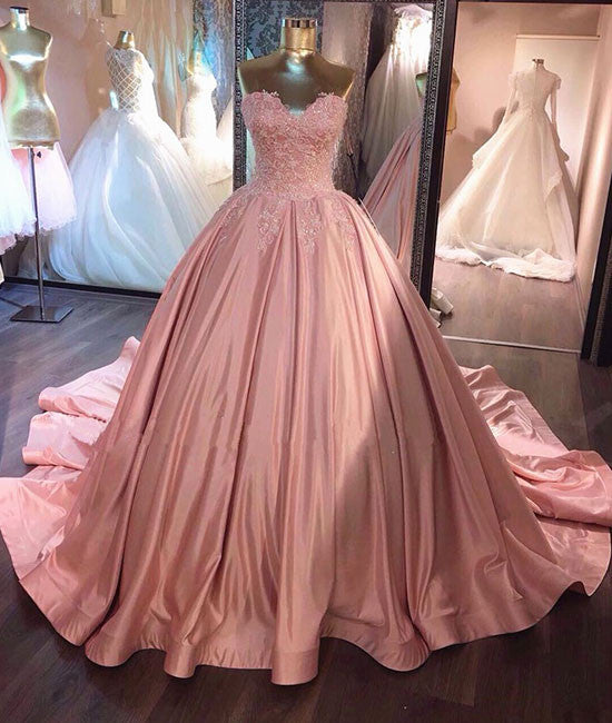 Unique pink sweetheart lace long prom gown, sweet 16 dress