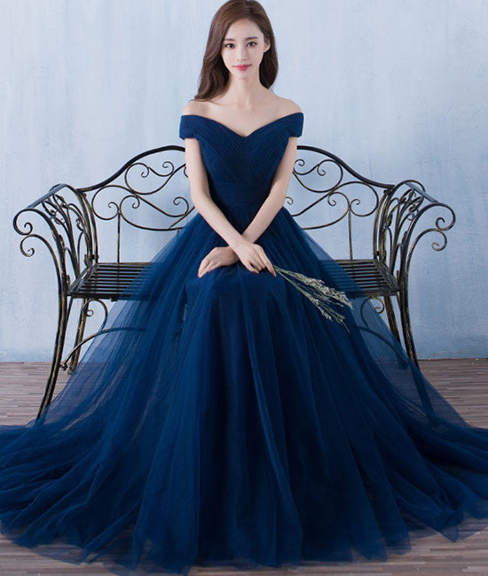 Simple A-line dark blue tulle long prom for teens, blue bridesmaid dress