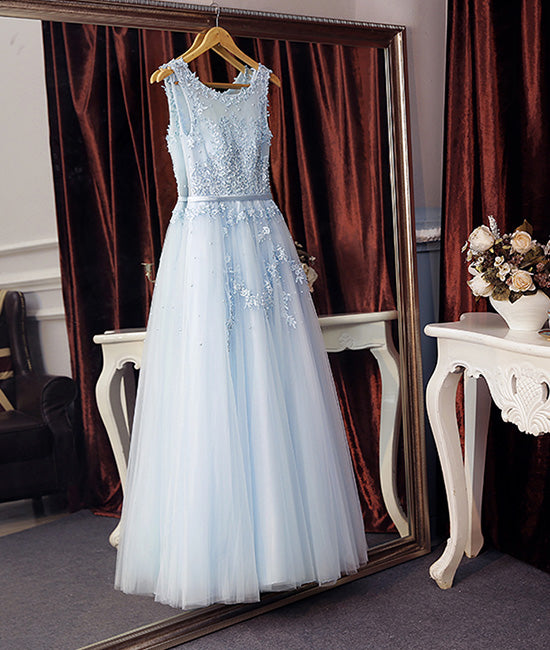 Light blue round neck lace tulle long prom dress blue evening dress