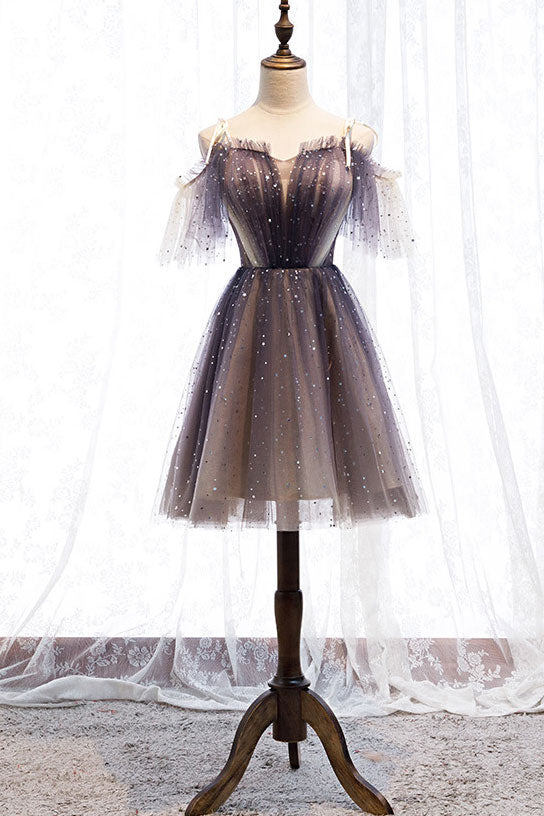 Cute tulle short prom dress tulle lace gray homecoming dress