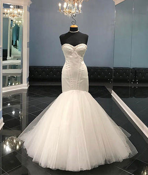 White tulle sweetheart long wedding dress, bridal dress - shdress