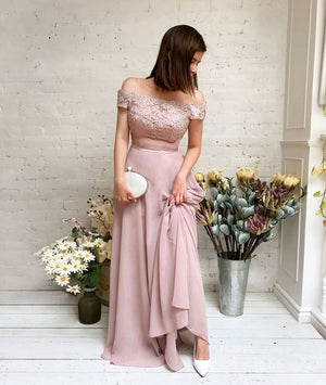 aaf9f6626b7d Pink chiffon lace off shoulder long prom dress, pink bridesmaid dress -  shdress