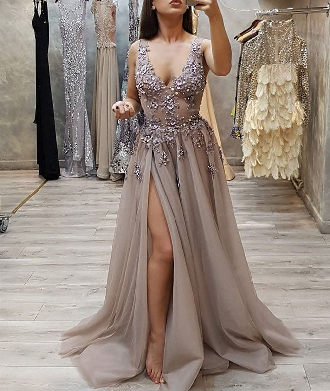 Gray v neck tulle lace long prom dress, gray evening dress - shdress