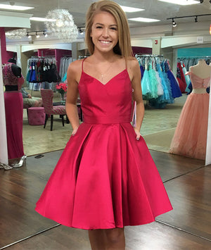 Red v neck short prom dress, simple red homecoming dress - shdress