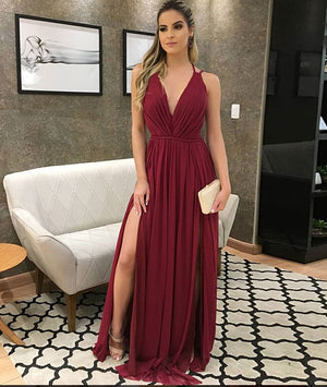 Burgundy v neck chiffon long prom dress, burgundy evening dress - shdress