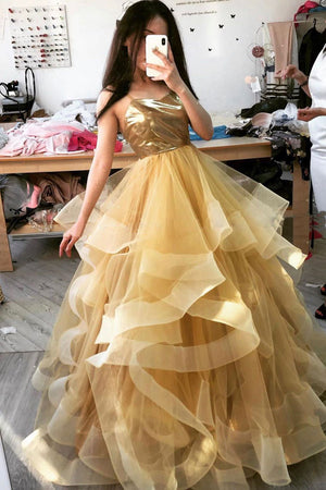 Unique sweetheart tulle long prom dress, tulle sweet 16 dress