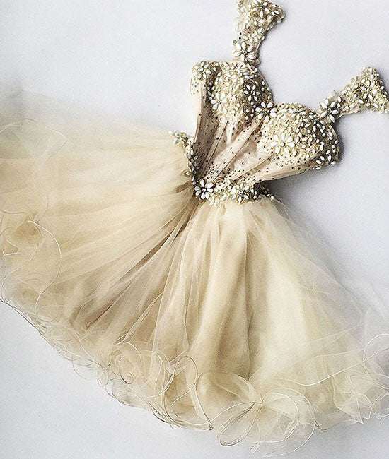 Champagne sweetheart tulle short prom dress, cute homecoming dress - shdress