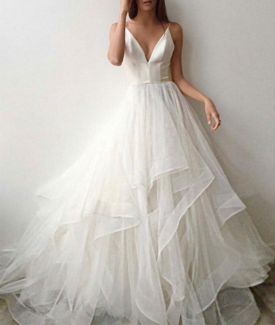 White tulle v neck long prom dress, white tulle evening dress