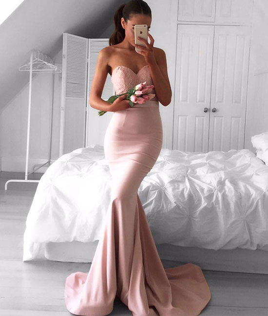 Pink sweetheart neck lace mermaid long prom dress, pink bridesmaid dress