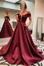 Simple off shoulder satin long prom dress long evening dress